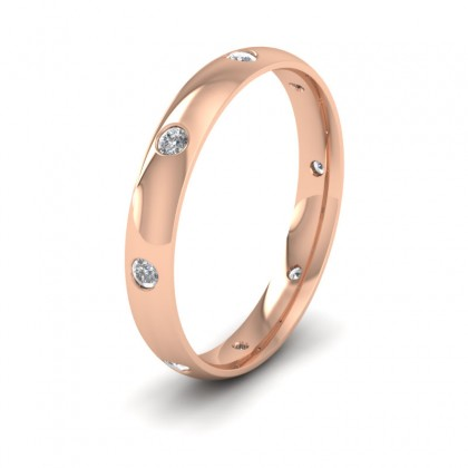 Eight Diamond Set 18ct Rose Gold 3mm Wedding Ring