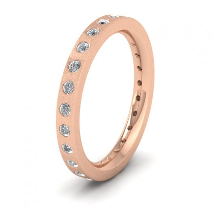 Full Diamond Set 9ct Rose Gold 2.5mm Wedding Ring With 24 Diamonds