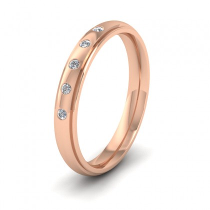 Line Pattern And Five Diamond Set 9ct Rose Gold 3mm Wedding Ring