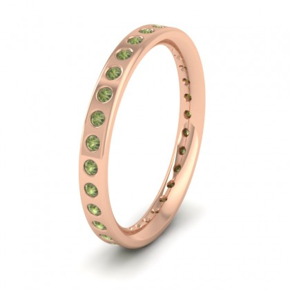 Full Green Sapphire Set 9ct Rose Gold 2.5mm Wedding Ring