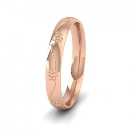 Engraved Flower 18ct Rose Gold 3mm Wedding Ring