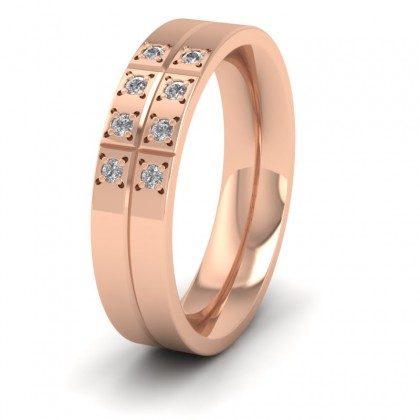 Cross Line Patterned And Diamond Set 9ct Rose Gold 5mm Flat Comfort Fit Wedding Ring