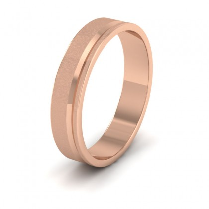 Assymetric Line Pattern 9ct Rose Gold 4mm Flat Wedding Ring