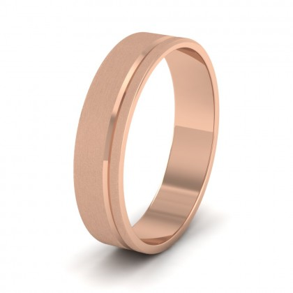 Asymmetric Line Pattern 9ct Rose Gold 5mm Flat Wedding Ring