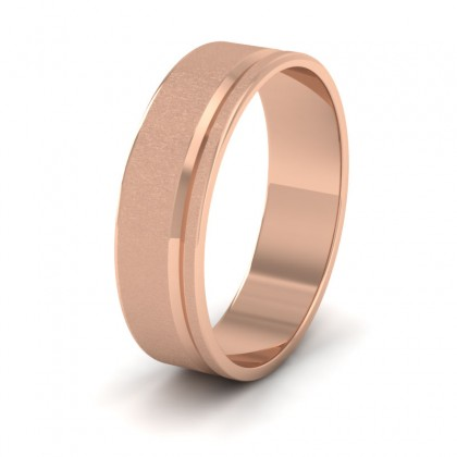 Assymetric Line Pattern 9ct Rose Gold 6mm Flat Wedding Ring