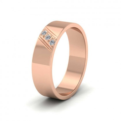 Three Diagonal Diamond Set 9ct Rose Gold 6mm Wedding Ring