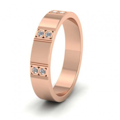 Three Row Diamond Set 18ct Rose Gold 4mm Wedding Ring
