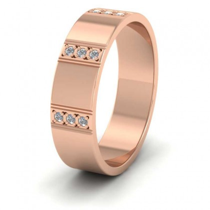 Three Row Diamond Set 9ct Rose Gold 6mm Wedding Ring