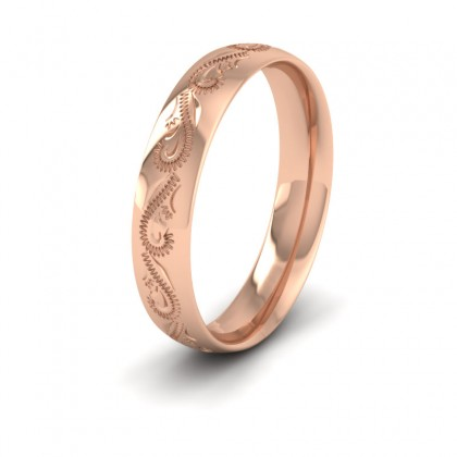 Engraved 9ct Rose Gold 4mm Wedding Ring