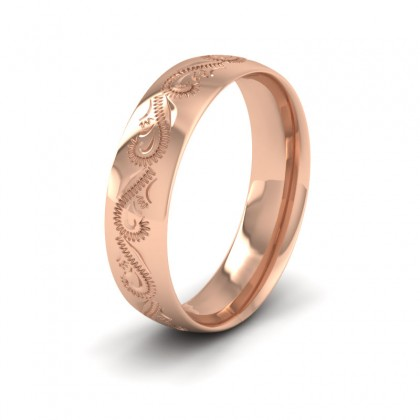 Engraved 9ct Rose Gold 6mm Wedding Ring