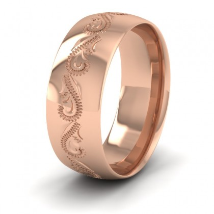 Engraved 9ct Rose Gold 8mm Wedding Ring