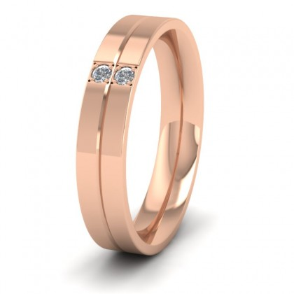 Two Diamond And Line Pattern 9ct Rose Gold 4mm Wedding Ring
