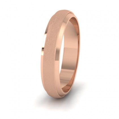 Flat Edge Patterned And Matt Finish 9ct Rose Gold 4mm Wedding Ring