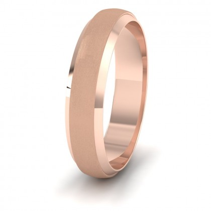 Flat Edge Patterned And Matt Finish 9ct Rose Gold 5mm Wedding Ring