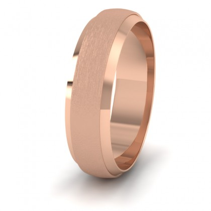 Flat Edge Patterned And Matt Finish 9ct Rose Gold 6mm Wedding Ring