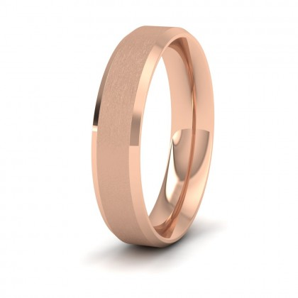 Bevelled Edge And Matt Finish Centre Flat 9ct Rose Gold 5mm Wedding Ring