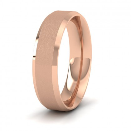 Bevelled Edge And Matt Finish Centre Flat 9ct Rose Gold 6mm Wedding Ring