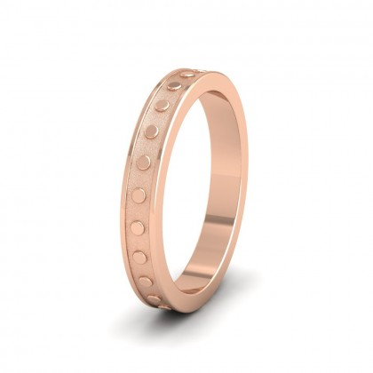 Raised Circle And Edge Patterned 9ct Rose Gold 3mm Wedding Ring