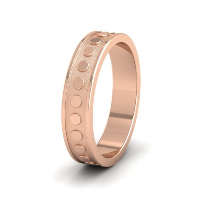 Raised Circle And Edge Patterned 9ct Rose Gold 5mm Wedding Ring