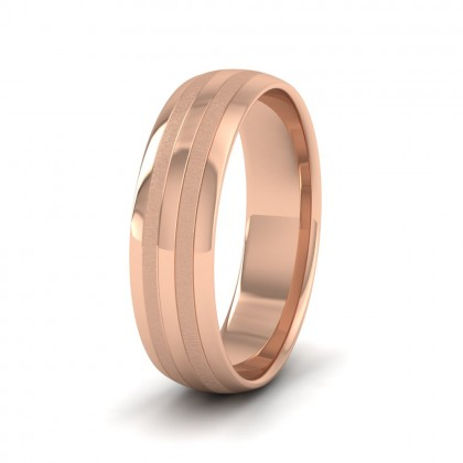 Four Line Pattern With Shiny And Matt Finish 9ct Rose Gold 6mm Wedding Ring