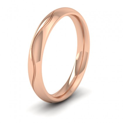 Wave Patterned 18ct Rose Gold 3mm Wedding Ring