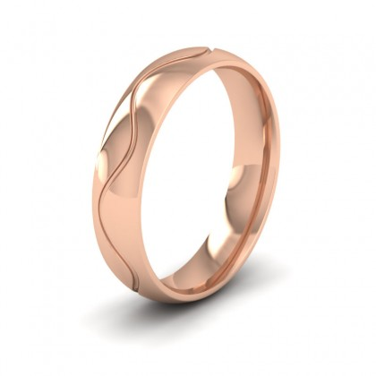 Wave Patterned 9ct Rose Gold 5mm Wedding Ring