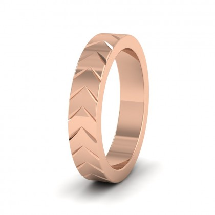 Chevron Pattern 9ct Rose Gold 4mm Wedding Ring