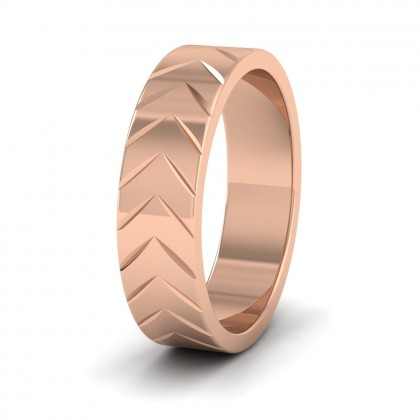 Chevron Pattern 18ct Rose Gold 6mm Wedding Ring