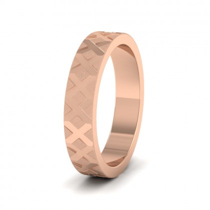Cross Pattern 9ct Rose Gold 4mm Wedding Ring