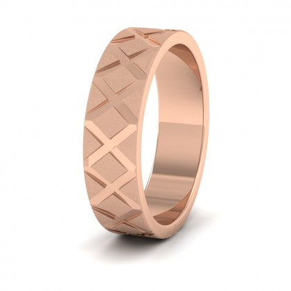 Cross Pattern 9ct Rose Gold 6mm Wedding Ring