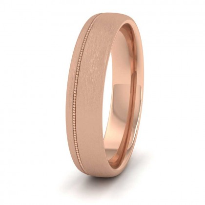 Asymmetric Millgrain 9ct Rose Gold 5mm Wedding Ring