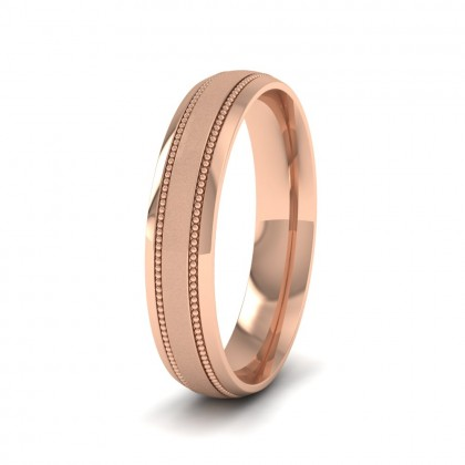 Millgrain And Contrasting Matt And Shiny Finish 9ct Rose Gold 4mm Wedding Ring