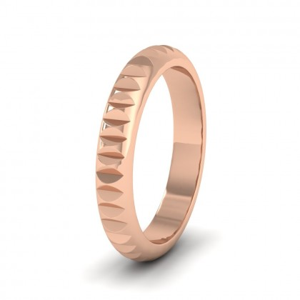 Cut Leaf Across Pattern 18ct Rose Gold 3mm Wedding Ring