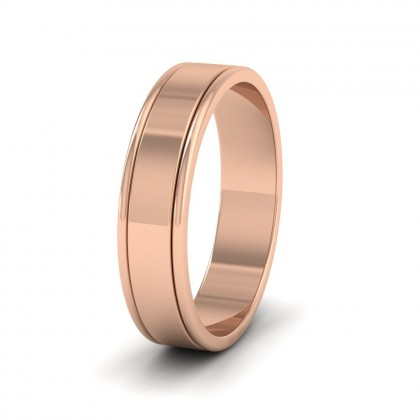 Rounded Edge Grooved Pattern Flat 9ct Rose Gold 5mm Flat Wedding Ring
