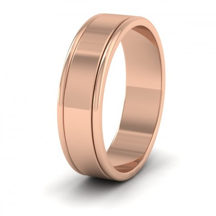 Rounded Edge Grooved Pattern Flat 9ct Rose Gold 6mm Flat Wedding Ring