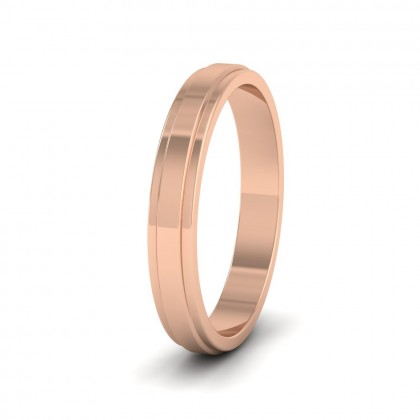 Stepped Edge Pattern Flat 9ct Rose Gold 3mm Flat Wedding Ring