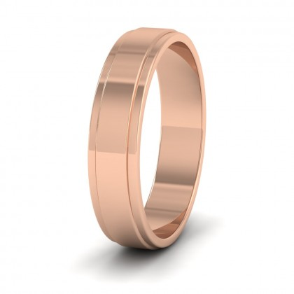 Stepped Edge Pattern Flat 9ct Rose Gold 5mm Flat Wedding Ring