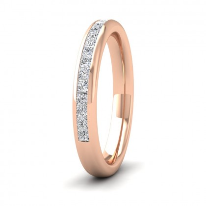 Princess Cut Diamond 0.5ct Half Channel Set Wedding Ring In 9ct Rose Gold 3mm Wide