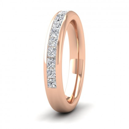 Princess Cut Diamond 0.75ct Half Channel Set Wedding Ring In 9ct Rose Gold 3.5mm Wide