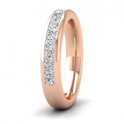 Princess Cut Diamond 1.05ct Half Channel Set Wedding Ring In 9ct Rose Gold 4mm Wide