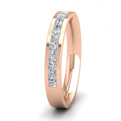 Princess Cut 10 Diamond 0.5ct Channel Set Ring In 9ct Rose Gold, 3mm Wide