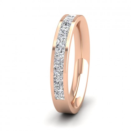 Princess Cut 10 Diamond 0.75ct Channel Set Ring In 9ct Rose Gold, 3.5mm Wide