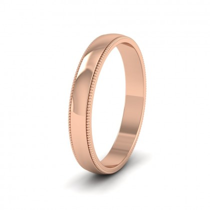 Millgrained Edge 9ct Rose Gold 3mm Wedding Ring