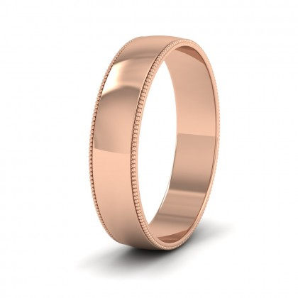 Millgrained Edge 18ct Rose Gold 5mm Wedding Ring