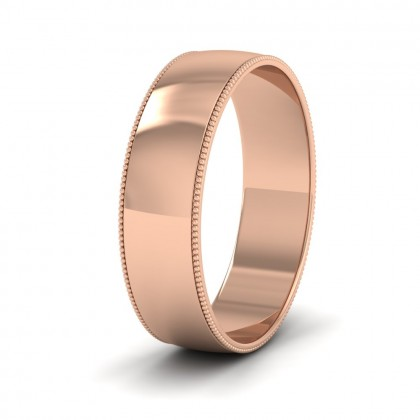 Millgrained Edge 9ct Rose Gold 6mm Wedding Ring