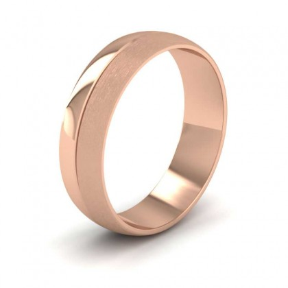 Matt And Polished Line Patterned 9ct Rose Gold 6mm Wedding Ring