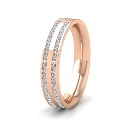 Two Row Full Channel 0.5ct Diamond Set 9ct Rose Gold 4mm Ring