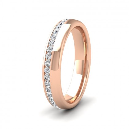 Assymetric Full Channel Set Diamond 9ct Rose Gold 4mm Ring