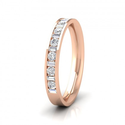 Channel Set Alternate Baguette And Round Diamond 9ct Rose Gold 3mm Ring