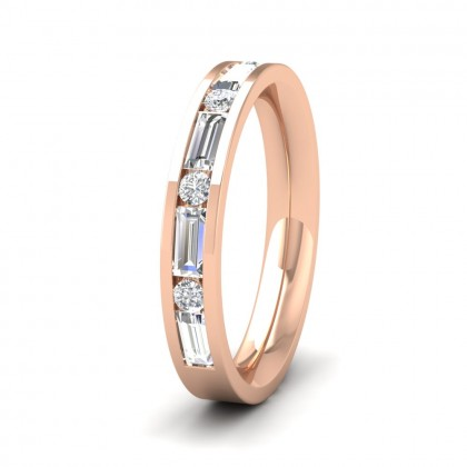 Channel Set Alternate Baguette And Round Diamond 18ct Rose Gold 3.5mm Ring